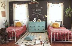 Boho-inspired shared bedroom for teen girls.