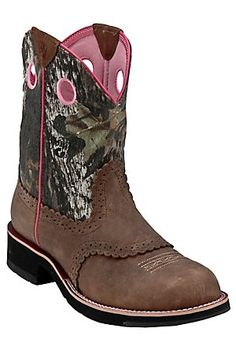Ariat Ladies Distressed Brown w/ Mossy Oak Camo Top Cowgirl Fatbaby Western Boot