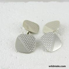 Vintage Men's Sterling Silver Cuff Links. Square Cushion Shaped Cufflinks with Engine Turned Ridged Design. - http://wildmale.com/vintage-mens-sterling-silver-cuff-links-square-cushion-shaped-cufflinks-with-engine-turned-ridged-design