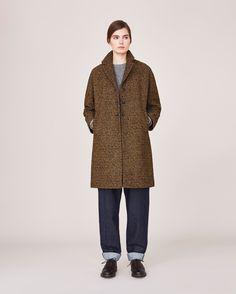 wool/poly Women's Ochre Tweed Coat | TOAST