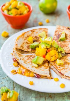 Lightened Up Corn and Bean Quesadillas with Avocado-Mango-Chipotle Salsa (vegetarian/vegan option) - A fast and easy meal that's lighter and healthier!