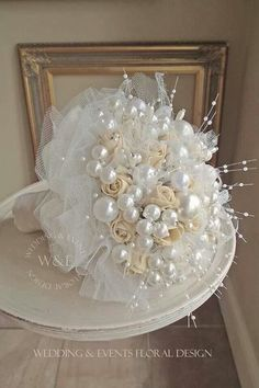 Wedding Pearl Bouquet, Crystal Bouquet, Beaded Bouquet, Ribbon Bouquet, Hand Bouquet, Wedding Brooch Bouquets, Diy Wedding Bouquet, Bride Bouquets, Button Bouquet