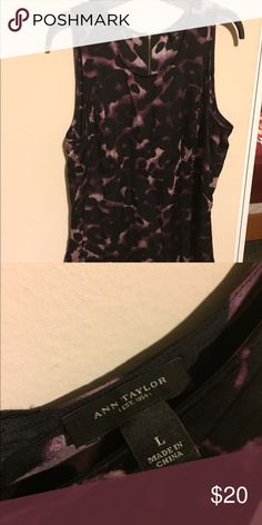 Ann Taylor purple leopard tank Sophisticated tank layers well under a blazer or cardigan, and can also be worn alone- great piece for a work to night out look. Short zipper in the back at the neckline. Silky material looks and feels amazing on. Ann Taylor Tops Camisoles