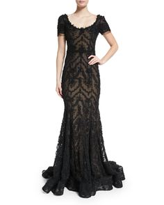 Marchesa Embroidered-Ribbon Lace Gown, Black