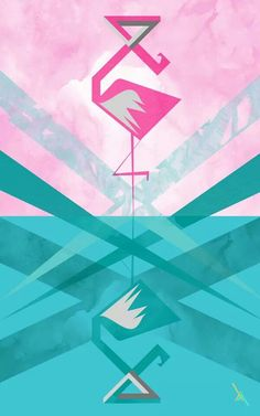 'Silly pink' illustration by Roxi Albescu #flamingo #escher #design #roxialbescu.com