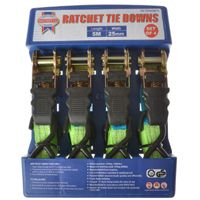 Faithfull 4 Piece Ratchet Tie Down Set    Set of 4  Maximum working load of 275kg (600lb)  Triple layer webbing and easy thumb release  5m length  Firmly secures loads quickly and efficiently. Used in the transport and building industries, the home and for many outdoor activities.