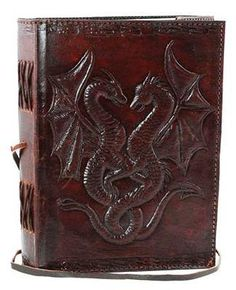 Double Dragon leather blank book - Book of Shadow - Witchcraft - Wiccan - Witch Journal - Book of Shadow Journal - Blank Book of Shadows