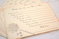 Wedding Wish Cards Fill in the Blank Wishes for Mr. and Mrs. ~ Guest Book Alternative