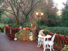 Our outdoor deck decorating for Fall/Halloween