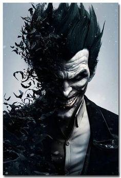 Joker - Batman Arkham City Arkham Origin Game Art Silk Fabric Poster Print