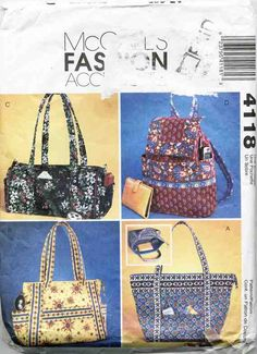 McCall's Sewing Pattern 4188 Sewing Pattern Fashion Accessories Handbags Used