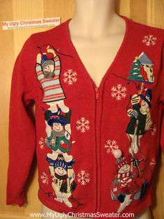 Tacky Ugly Christmas Sweater with Climbing Silly Snowmen (f121)