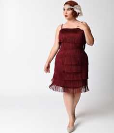 1920s Style Costumes Unique Vintage Plus Size Burgundy Speakeasy Tiered Fringe Flapper Dress  Size 4XL $78.00 AT vintagedancer.com