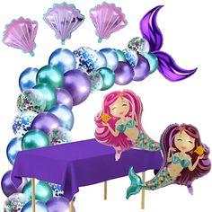 Amazon.com : adult balloon garland Mermaid Balloons, Dinosaur Balloons, Happy Birthday Sparkle, Happy Birthday Banners, Mermaid Party Decorations, Birthday Party Decorations, First Birthday Themes, First Birthdays, 4th Birthday