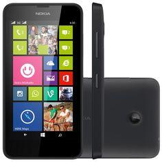 """Smartphone Nokia Lumia 630 Dual, 3G TV Digital Windows Phone 8.1 8GB Quad Core 1.2GHz Câmera 5MP Tela 4,5"""", Preto"""