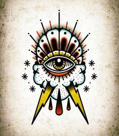 Traditional Tattoo Cuff, Traditional Tattoo Reference, Traditional Tattoo Old School, Traditional Sleeve, Storm Tattoo, 4 Tattoo, Tattoo Sketches, Tattoo Drawings, All Seeing Eye Tattoo