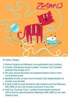 Zutano Pinterest Contest! Follow the above steps for a chance to win one of two, 5-piece, Mix and Match, Zutano Sets! Curious Cat, Create Yourself, Dog Cat, Kitty, Cats, Giveaways, Blog, Gatos, Kitten