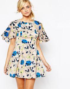 Dahlia+Floral+Dress+with+Cape+Detail