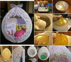 easter craft - yarn placed over a balloon, let dry, then pop the balloon and add decorations to the end result. Nice! Easter Egg Crafts, Easter Eggs, Easter Baskets, Gift Baskets, Diy For Kids, Crafts For Kids, Holiday Crafts, Holiday Decorations, Christmas Bulbs