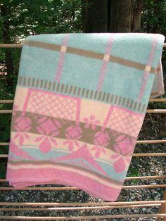 Beautiful Vintage Pink and Green Camp Blanket by VintageCreekside, $60.00