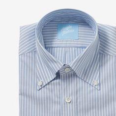 Button Down Shirt Oxford Blue Reverse Stripe