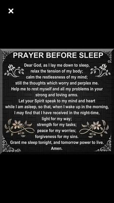 Prayer before sleep Prayer Scriptures, Bible Prayers, Faith Prayer, God Prayer, Prayer Quotes, Spiritual Quotes, Faith Quotes, Bible Quotes, Bible Verses