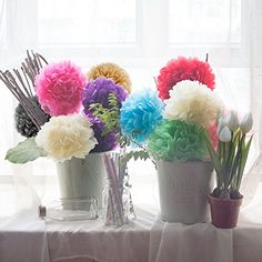 15 Pieces Precut Party Tissue Paper Flowers Pom Poms 12 Inches Great For Weddings Birthday Party Communion Quinceaera ** Click on the image for additional details.