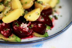 beet, potato + avocado salad with horseradish vinaigrette