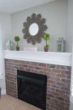 Mirror above fireplace.