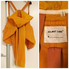 Helmut Lang orange jacket with carry-on-straps via http://lacollectionneuse.tumblr.com/post/138149598297/helmut-lang-vintage-パーカー-raf-simons-ヘルムートラング