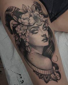 Tattoo Girls, Girl Face Tattoo, Girl Tattoos, Tatoos, Hai Tattoos, Capricorn Tattoo, Body Art Tattoos, Aries Tattoos, Horoscope Tattoos