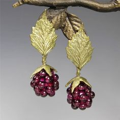 Michael Michaud Silver Seasons Raspberry Leaf Top Post Earrings Handmade in USA Clay Jewelry, Fine Jewelry, Thing 1, Purple Jewelry, Pretty And Cute, American Jewelry, Raspberry, Blackberry, Peridot