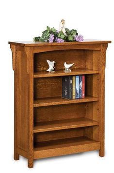 Amish Bridger Mission Bookcase with Three Shelves Picture your books in this beautiful bookcase with 3 adjustable shelves. Option to add doors if you wish! Built in Amish country in choice of wood and stain.