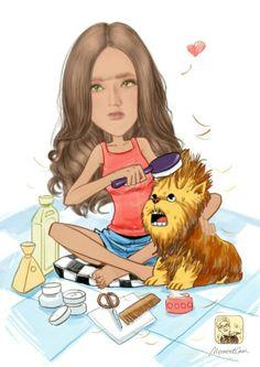Brigitte coif son chat