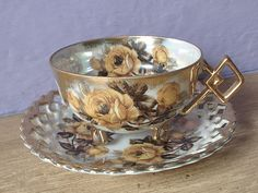 vintage lustreware tea cup and saucer set, 1950's Castle Japanes tea cup, antique footed tea cup, yellow rose gold cup