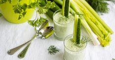 Egy, az eredetitől eltérő színű, világos gazpacho-t, egy zelleres-kapros uborkalevest és egy igazi kuriózumot, az avokádótól krémes retekleves receptet mutatunk nektek. Hűsöljünk együtt ezekkel a nyári melegben! Gazpacho, Celery, Vegetables, Food, Kitchen, Cilantro, Cooking, Essen, Kitchens