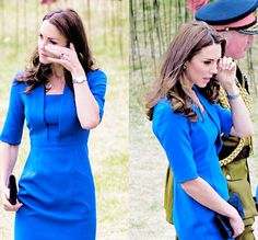 The Duchess of Cambridge brushed away a tear as she walked through a sea of poppies to commemorate the beginning of WW1 today