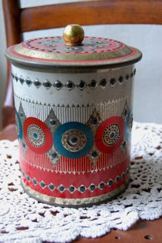 Vintage Christmas Tin Red Gold Green Art Deco by QuirkyQuriosities, $10.00