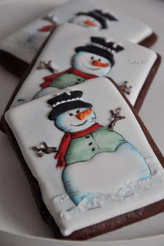 Snowman Cake, Snowman Cookies, Christmas Sugar Cookies, Christmas Cupcakes, Christmas Sweets, Holiday Cookies, Christmas Baking, Fancy Cookies, Iced Cookies