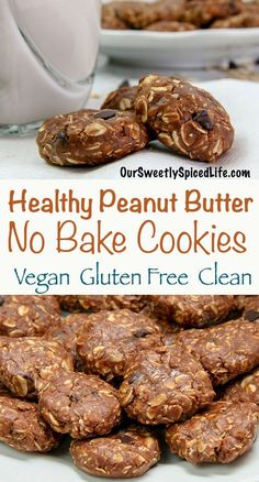 Try this simple recipe for how to make healthy no bake chocolate peanut butter cookies! Packed with peanut butter, chocolate chips, peanuts, and oatmeal, this from scratch soft chewy cookie is flourle Healthy Sweet Snacks, Healthy Brunch, Healthy Dessert Recipes, Healthy Baking, Healthy Late Night Snacks, Eat Healthy, Healthy Habits, Brunch Recipes, Healthy Meals