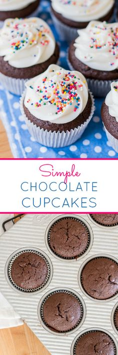 Mixed by hand, these Simple Chocolate Cupcakes are just as easy to prepare as box-mix cupcakes. They're perfect topped with Vanilla Frosting! This quick and easy recipe is rich and delicious.