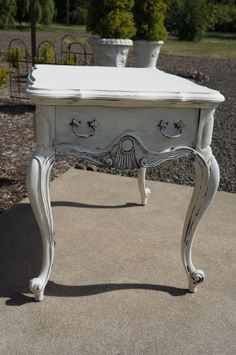 French Antique Shabby Cottage End Table