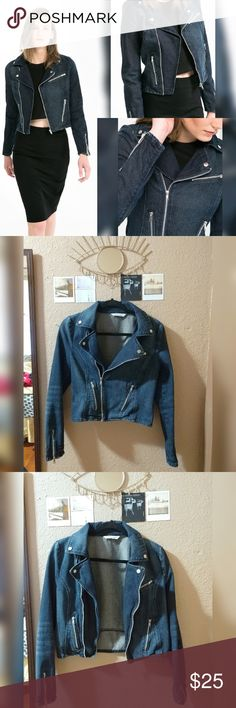 Mango Dark Wash Denim Moto Biker Jacket Dark wash denim biker jacket by Mango in size small. Wide lapels, asymmetrical zipper fastening, and three zip pockets. Like new with no damage but it could use a good ironing (I'd have ironed it myself but I don't have an iron right now). Mango Jackets & Coats Jean Jackets