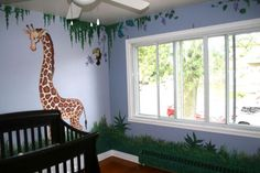 Jungle-Themed Nurseries: Ideas & Inspiration  LOVE inclusion of.grass to tie the room together