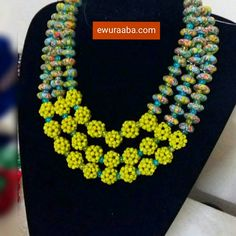 #Ghanaian beads. #Africanbridal jewelry set beaded by Ewuraaba. Visit www.ewuraaba.com for more pieces. Delivery services available.