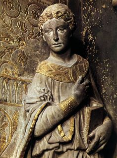 """Donatello: Annunciation c. 1435 Gilded pietra serena, 218 x 168 cm Santa Croce, Florence """" The Annunciation in Santa Croce is the first work to reflect Donatello's new tendencies following his stay in Rome. """"It was put near the altar of the..."""