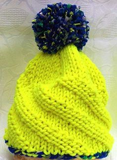 Screenshot_2019-12-21 Jules Geschenkevitrine gestrickte Kinder-Mütze Neongelb mit Bommel - Kopfumfang 42-46cm Amazon de Küc[...] Knitted Hats, Knitting, Fashion, Knitting For Kids, Handmade, Handarbeit, Tutorials, Gifts, Moda