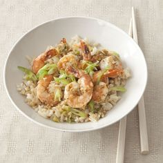 Garlic-Ginger Shrimp, a fast, low-cal, super scrumptious dish by kitchen genius Mark Bittman.