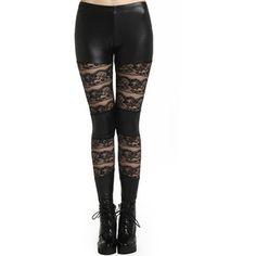 ROMWE Faux Leather Panel Lace Black Leggings