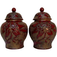 Burgundy Floral Glazed Ginger Jars - A Pair ($250) ❤ liked on Polyvore featuring home, home decor, decorative jars and floral home decor